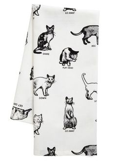 Etiquette Got Your Tongue Dish Towel - Cotton, White, Print with Animals, Black, Cats