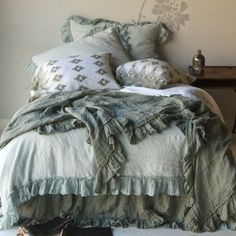 Bella Notte Bedding, we love all of Bella Notte Linens options for colors, style, and comfort. Superior quality at that. Come by June DeLugas Interiors and let us help you pick out your custom Bella Notte Linens bedding. Shabby Chic Bed Linen, Camas Shabby Chic, Textured Bedding, Bed Scarf, Fru Fru, Linen Duvet, Linen Sheets, Ruffle Duvet, Cotton Bedding