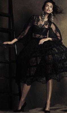 Bianca Baltii in Dolce  Gabbana Alta Moda Black Lace Dress