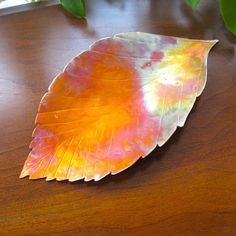 Leaf shaped tray made of copper