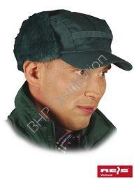 Zielona czapka uszanka zimowa CZO