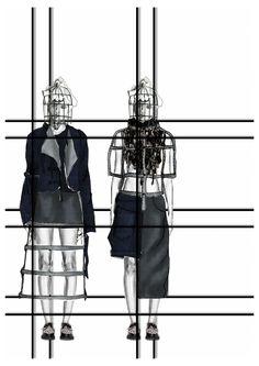 Fashion Sketchbook - denim project, fashion illustrations, fashion portfolio layout // Heidi Kalliokoski