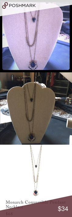 """Monarch Convertible Pendant Necklace Can be layered together, worn one-by-one. Featuring antique gold plating, royal blue glass + tonal crystals. Nickel-free plating, 18"""", 26"""" + 30"""" approx. lengths + 2"""" extender, lobster clasp, royal blue glass, hematite, black diamond + clear crystal, jet black resin. Chloe + Isabel Jewelry Necklaces"""