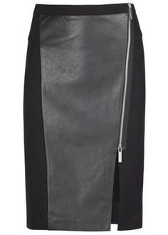 Black faux leather panelled skirt - New In - Women