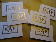 Stampin Up Sophisticated Serifs embossed in silver and gold.