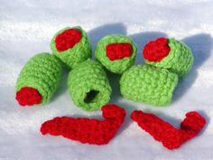 Crocheted Olives with Pimentos-Free Pattern//instead of ball fringe--ha!