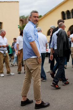 Always a great combo, khaki with a nice light blue shirt. You can never go wrong with this combo!    On the Street…Italian Khakis, Florence « The Sartorialist
