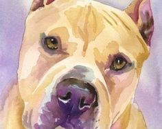 Perro Pitbull arte imprimir impresión del por BrittanyFarinaArt