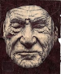 Mark Powell uses old envelopes and nothing but a bic pen to create these astonishing works of art