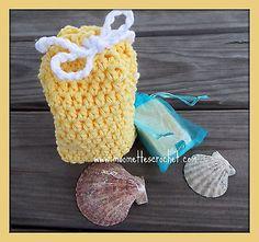 Crochet Lemon Yellow Soap Saver Bag Wash Towel Handmade Soap Lavender Gift Set