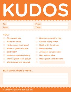 Kudos for Work - set of 10 Note Pads (Orange)-Trainers Warehouse