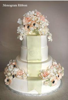 """Gorgeous """"Monogram Ribbon"""" cake by Gail Watson."""