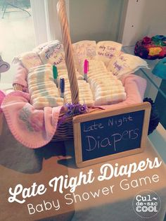 Late-Night-Diapers-Baby-Shower-Game- via cul de sac cool Otoño Baby Shower, Bebe Shower, Fiesta Baby Shower, Fun Baby Shower Games, Baby Shower Activities, Baby Shower Diapers, Baby Shower Gender Reveal, Baby Shower Themes, Baby Shower Gifts