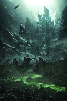 Fantasy City, Fantasy Castle, Fantasy Places, Fantasy Kunst, Fantasy World, Fantasy Concept Art, Dark Fantasy Art, Fantasy Artwork, Anime Fantasy