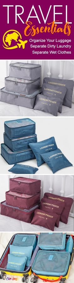 Waterproof Travel Organizing and Packing Cubes & Pouches - https://www.allthecutestuff.com/travelcubes  These super cute luggage organizer bags are a travel essential.  Create more space in your suitcases, separate dirty laundry and keep wet stuff separate with these high-quality, waterproof travel packing cubes. Cool travel tip: Got multiple family members sharing luggage? Use packing cubes to keep everybody organized!