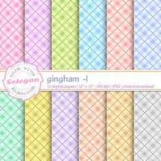 "gingham digital scrapbook paper "" Gingham -1 "" plaid patterns fabric background…"