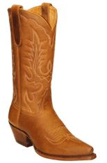 Star Boots for Women Tan Crazy Horse Leather Cowboy Boots W7001