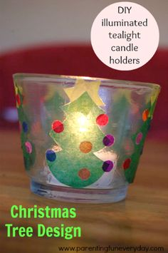 Project No. 7 in the 30 days of Christmas crafts. Tealight Candle holders to make for Christmas Day using kite paper. Preschool Christmas Crafts, Preschool Gifts, Classroom Crafts, Christmas Activities, Holiday Crafts, Santa Crafts, Christmas Tree Design, Christmas Fun, Cadeau Parents