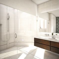 Love this bathroom! Large European Shower with the dark expresso cabinets and glass tiles provides a very sleek look!   www.franksglass.com