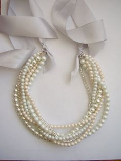 White pearl matte pale pink crystal ribbon by WildStoneJewels, $32.50