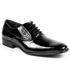 Delli Aldo M-19121 Black Patent Mens Lace Up Wing Tip Oxford Dress Shoes