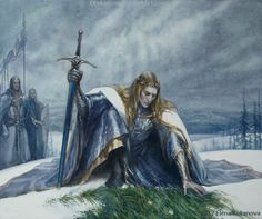 """[During the War of Wrath] """"Finarfin finding Finrod's grave in midwinter, and the grass still green on it... from a fanfic by Eilian, painted perfectly by the amazing Elena Kukanova."""" Art entitled 'King of the Valinorian Noldor' http://ekukanova.deviantart.com/art/King-of-the-Valinorian-Noldor-673497514"""