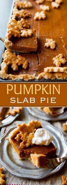 Perfectly creamy and spiced pumpkin slab pie to feed a crowd! Recipe on sallysbakingaddiction.com