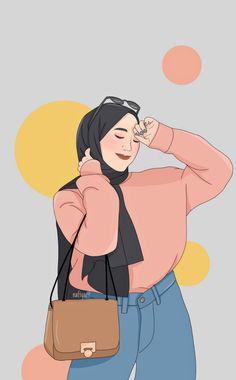 Cartoon Girl Images, Cartoon Girl Drawing, Cartoon Art Styles, Girl Cartoon, People Illustration, Illustration Art, Hijab Drawing, Islamic Cartoon, Hijab Cartoon