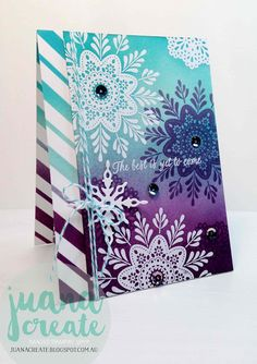Juan Ambida: Frosted Medallions, Elegant Eggplant, Rich Razzleberry, Pool Party, Tempting Turquoise inks inspired by Fancy Frost sequins Simple Christmas Cards, Stampin Up Christmas, Xmas Cards, Handmade Christmas, Holiday Cards, Christmas Crafts, Christmas 2016, Card Making Inspiration, Making Ideas