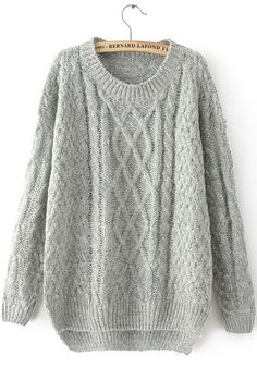 Grey Long Sleeve Cable Knit Loose Sweater by: SheInside @SheInside