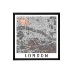 London Graphic Map Framed Wall Art Print 50 x Multi