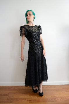 80s Sequin Mermaid Evening Gown 1940s Style by TrendyPantsVintage