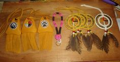 beaded medicine bags, rope keychains and sweetgrass medicine wheels, priced at $25.00 each plus shipping. www.facebook.com/Nativecraftsandjewelery