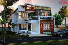 modern house plans in kerala with photo gallery with best exterior house paint malaysia with house paint design interior exterior for home design malappuram malappuram kerala Two Story House Design, Bungalow House Design, House Front Design, Small House Design, Modern House Design, Front Elevation Designs, House Elevation, House Plans Mansion, Indian House Plans