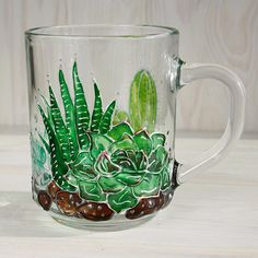 Succulent gift Hand painted mug Green Natural gift Plants gift Hand Painted Mugs, Painted Plates, Christmas Toys, Best Christmas Gifts, All You Need Is, Gifts For Her, Great Gifts, Succulent Gifts, Green Nature