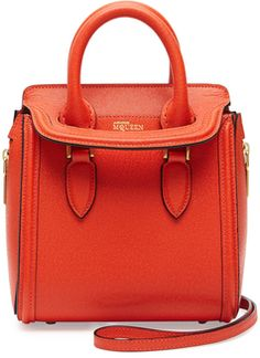 Alexander Mc Queen Heroine Mini Satchel Bag, Orange - 30% off, now $1116.0 @ #Bergdorf  #AlexanderMcqueen