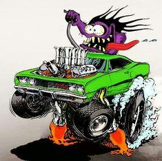 "Ed Roth's ""Rat Fink"" stuff rules! Cartoon Car Drawing, Cartoon Rat, Cartoon Pics, Rat Fink, Monster Car, Monster Trucks, Caricatures, Ed Roth Art, Cool Car Drawings"