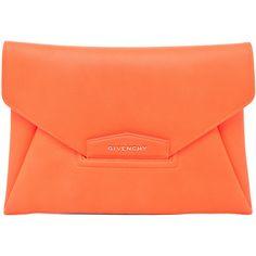GIVENCHY Antigona Envelope Clutch in Bright Orange ($1,280) ❤ liked on Polyvore