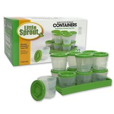 Baby Food Containers: Reusable Stackable Freezer Safe Storage Cups w/ Tray and Dry-erase Marker (Set of 12 - 2oz) BPA and PVC Free ** Be sure to check out this awesome product. (This is an affiliate link) #NurseryDecor
