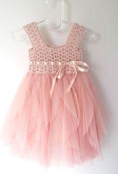 Blush rosa bebé vestido de tul con cintura imperio por AylinkaShop                                                                                                                                                                                 Más