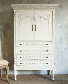 Vintage Shabby Chic Petite Armoire White Roses-armoire,tv, furniture, bathroom, bedroom,cabinet, drawer, storage, hand, carved, floral, tassel,