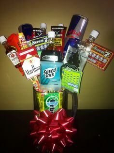 Guy gift, minus the cigarettes(gross)! And the alcohol until he's 21.