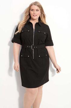 MICHAEL Michael Kors Belted Shirtdress (Plus Size) | full figured and fabulous | womens shirtdress | style | fashion | wantering http://www.wantering.com/womens-clothing-item/michael-michael-kors-belted-shirtdress-plus-size/abjYt/