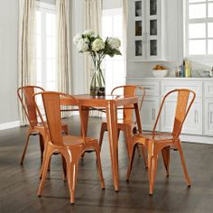 Amelia Five Piece Metal Cafe Dining Set - Table & Four Chairs - Crosley - want this for my deck....