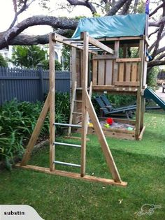 monkey bars and fort