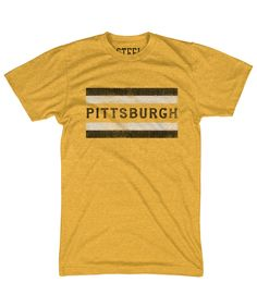 Black and gold arethe iconic colors of thecityof Pittsburgh. It is rare that a city would adopt a color scheme to use throughout all of its sports teams. But all three of Pittsburgh's major teams use black and gold.   Tri-blendcotton Fashion fit Super soft feel