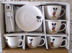 Disney-Mickey-Mouse-Ceramic-Coffee-Cup-Plates-Spoons-Tea-Set-of-5