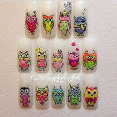 Карина Барахолкова Owl Nail Art, Owl Nails, Minion Nails, Funky Nail Art, Crazy Nail Art, Animal Nail Art, Baby Nails, Owl Nail Designs, Cartoon Nail Designs