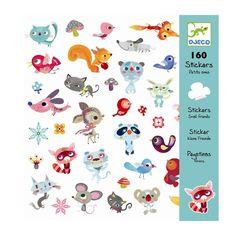 Djeco Sticker Aufkleber Kleine Freunde Tiere 160 Stück - Bonuspunkte sammeln, Kauf auf Rechnung, DHL Blitzlieferung!