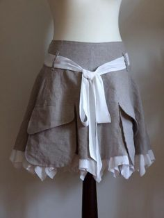 NATURAL LINEN LEATHER LOOK SKIRT WITH CARGO POCKETS AND by couvert